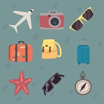 Neun gute reise-set-icons