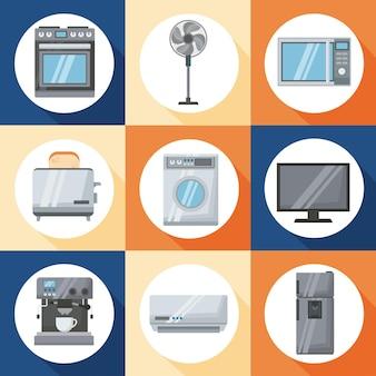 Neun haushaltsgeräte setzen icons
