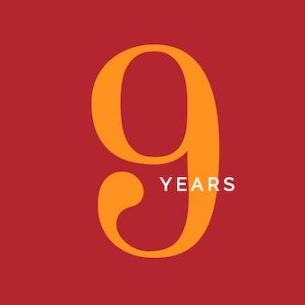 Neun jahre symbol neunter geburtstag emblem jahrestag zeichen nummer logo konzept vintage poster vorlage poster