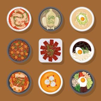 Neun koreanische lebensmittelsymbole