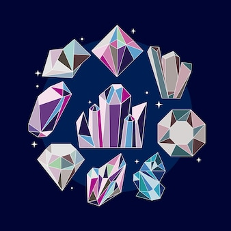 Neun kristalledelsteine luxusikonen