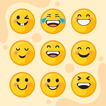 Neun lächelnde emoticons