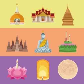 Neun loy-krathong-symbole