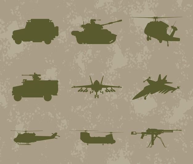 Neun militärische waffensilhouetten