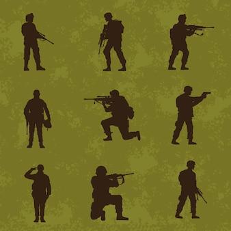 Neun militärsoldaten silhouetten