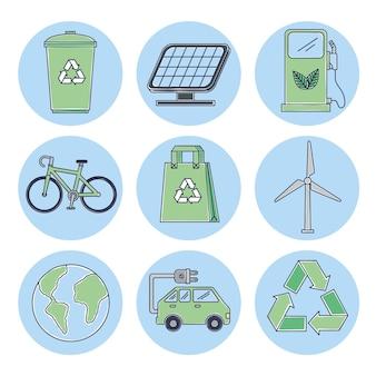 Neun ökologie-symbole