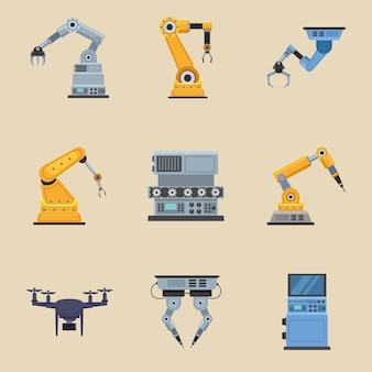 Neun produktionsroboter