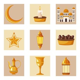 Neun ramadan-kareem-elemente