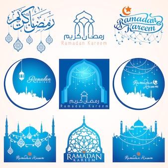 Neun sätze ramadan kareem-emblem für abzeichen