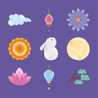 Neun set-icons für das herbstfest