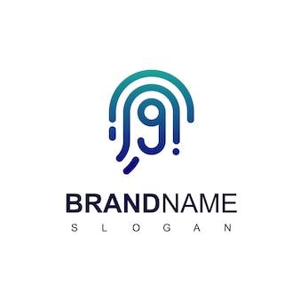 Neun sicheres logo mit fingerabdrucksymbol
