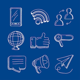 Neun social-media-set-symbole