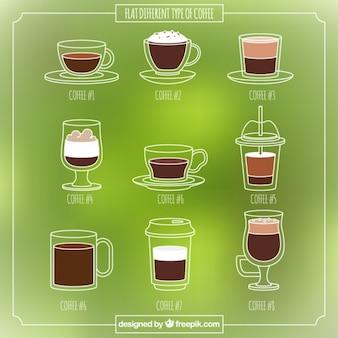 Neun sorten von kaffee