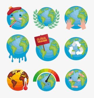 Neun symbole für die globale erwärmung