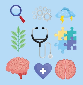 Neun symbole für psychische gesundheit