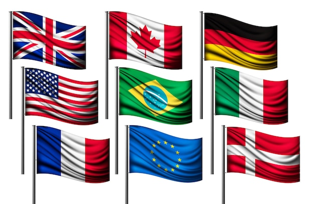 Neun verschiedene flaggen der wichtigsten länder.