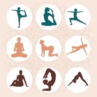 Neun yoga-posen