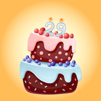 Neunundzwanzig jahre geburtstagstorte mit kerzen nummer 29. nettes festliches bild der karikatur. schokoladenkeks mit beeren, kirschen und blaubeeren. für partys, jubiläen