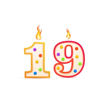 Neunzehnjähriges jubiläum, 19 nummerförmige geburtstagskerze mit feuer auf weiß