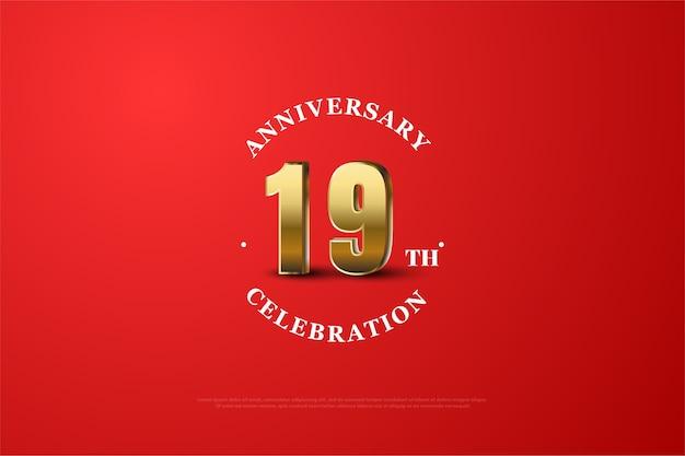 Neunzehntes jubiläum mit rotem hintergrund und goldenen zahlen