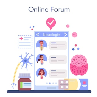 Neurologe online-service oder plattform. der arzt untersucht das menschliche gehirn.