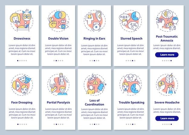 Neurologischer problemzeichen-onboarding-seitenbildschirm der mobilen app mit festgelegten konzepten