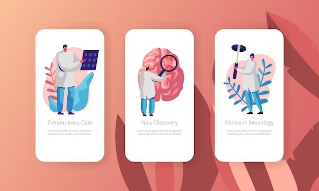 Neurologisches untersuchungskonzept mobile app page onboard screen set. gesundheitstechnologie. neurologe arzt explore tomography ergebnis website oder webseite. flache karikatur-vektor-illustration