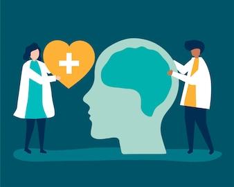 Neurowissenschaftler mit einem riesigen Diagramm des menschlichen Gehirns
