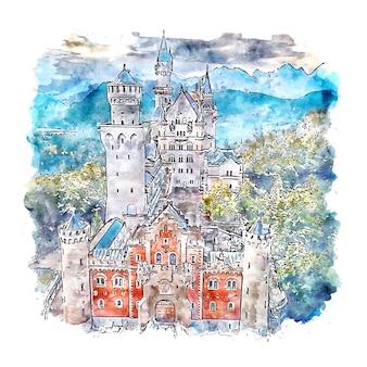 Neuschwastein castle germany aquarell skizze hand gezeichnete illustration