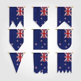 Neuseeländische flagge in verschiedenen formen, flagge der neuseeländischen inseln in verschiedenen formen
