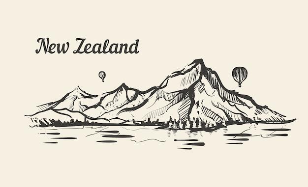 Neuseeländischer landschaftsberg