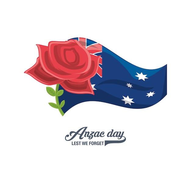 Neuseeland-flagge mit mohnblumenikone