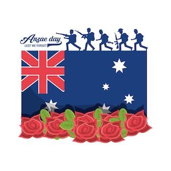 Neuseeland-flagge mit schattenbild von soldaten und von mohnblumen