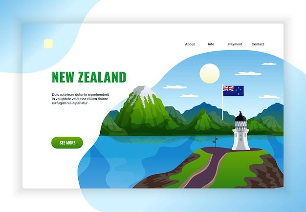 Neuseeland-konzept des landingpage-designs
