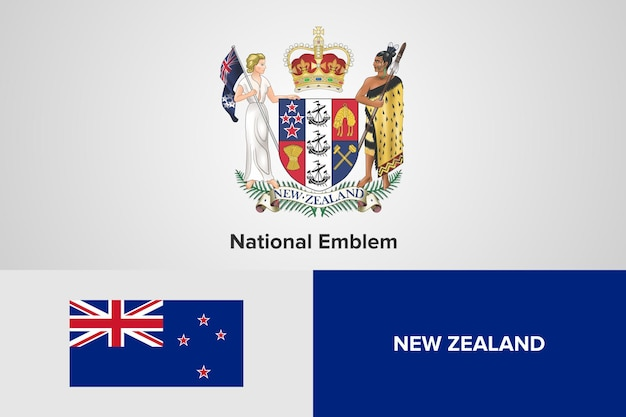 Neuseeland national emblem flag vorlage