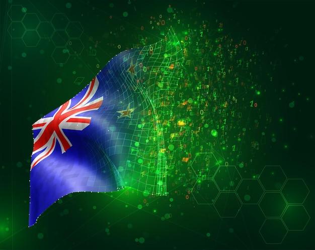 Neuseeland, vektor-3d-flagge auf grünem hintergrund mit polygonen und datennummern