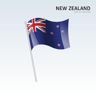 Neuseeland wehende flagge isoliert auf grau