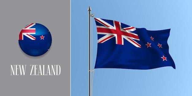 Neuseeland winkende flagge auf fahnenmast und rundem symbol. realistische 3d der roten blauen kreuz-kiwiflagge und des kreisknopfes