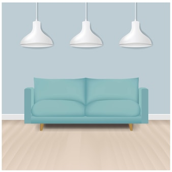 Neuwertiges modernes sofa mit lampenhintergrund mit farbverlaufsgitter.