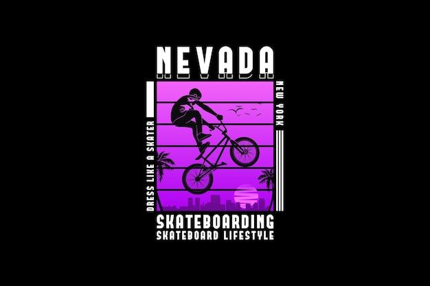 Nevada-skateboard, design-silhouette im urbanen stil
