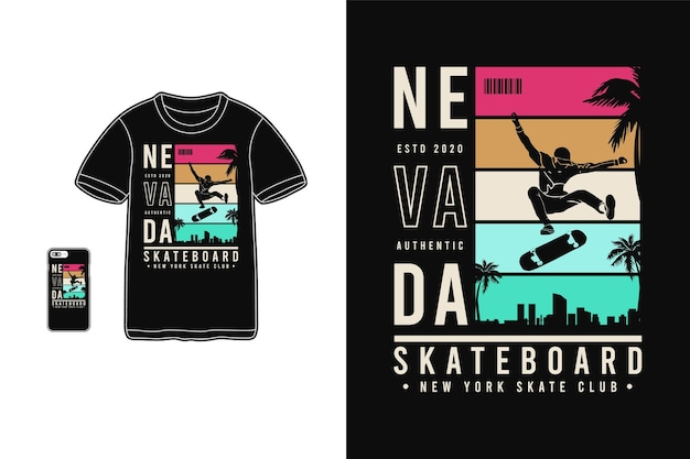 Nevada skateboard für t-shirt design silhouette