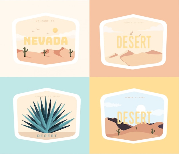 Nevada-wüstenillustrations-designsatz