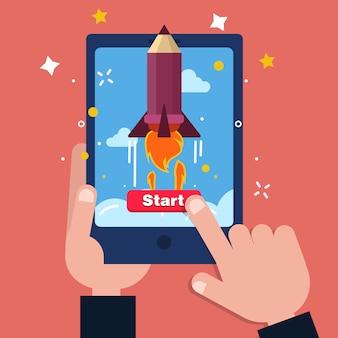 New business project startup konzept design in flachen stil