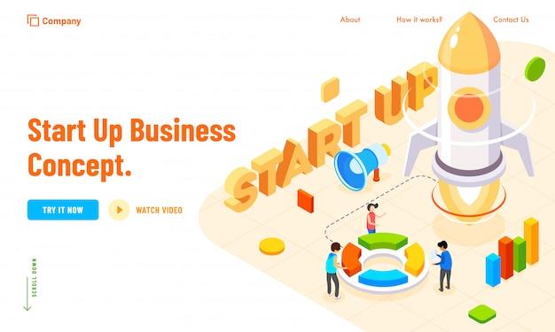 New business startup konzept basierte landing page design