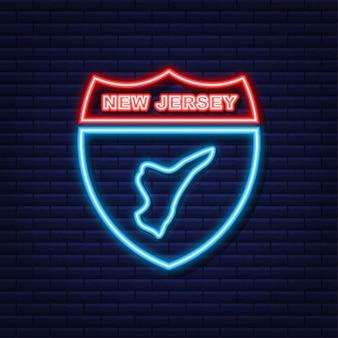 New jersey state map umriss neonsymbol. vektor-illustration.