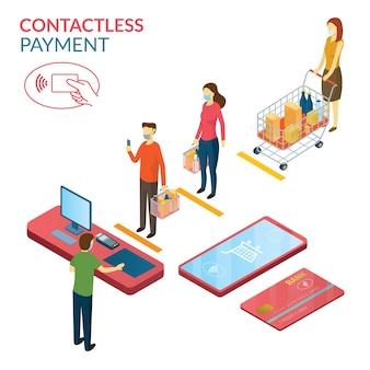 New normal, menschen in sozialer distanz und kontaktlosem bezahlen, einkaufen in mart und store