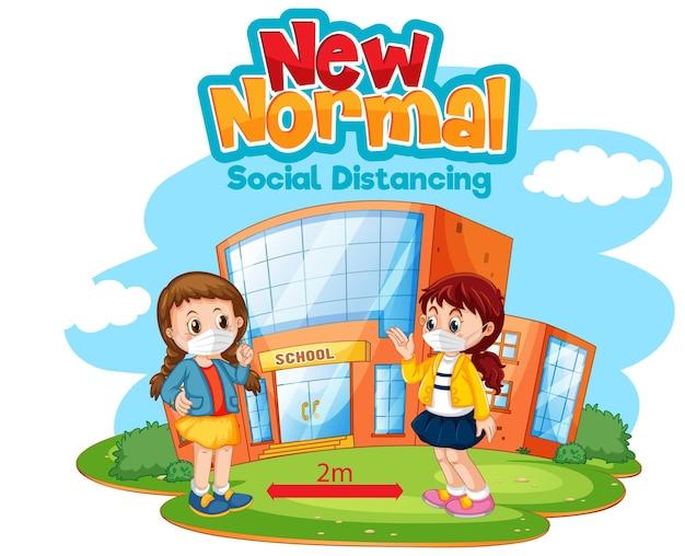 New normal mit zwei personen, die soziale distanz wahren