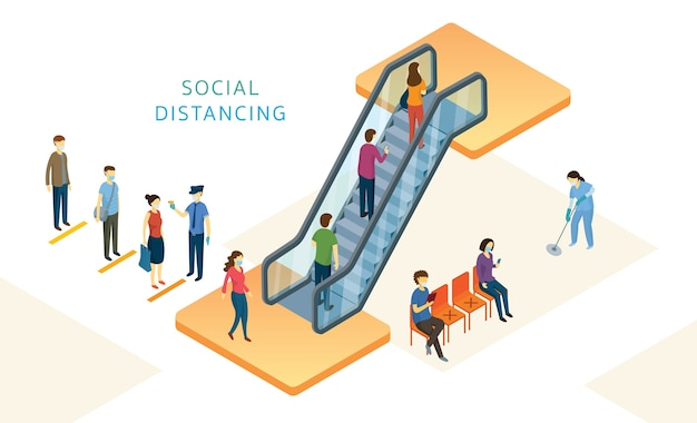 New normal, people, social distancing in mart und store, rolltreppe verwenden