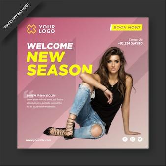 New season mode social media template design