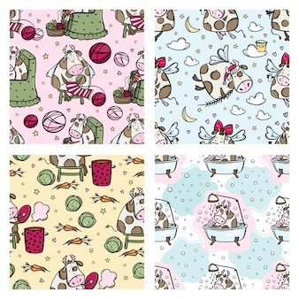 New year cow pattern set